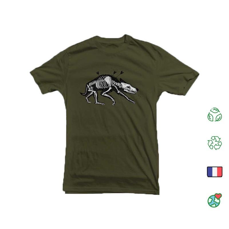T Shirt Kosen Wolf Kaki Face